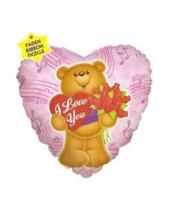 Balon folie Bear Heart and Roses